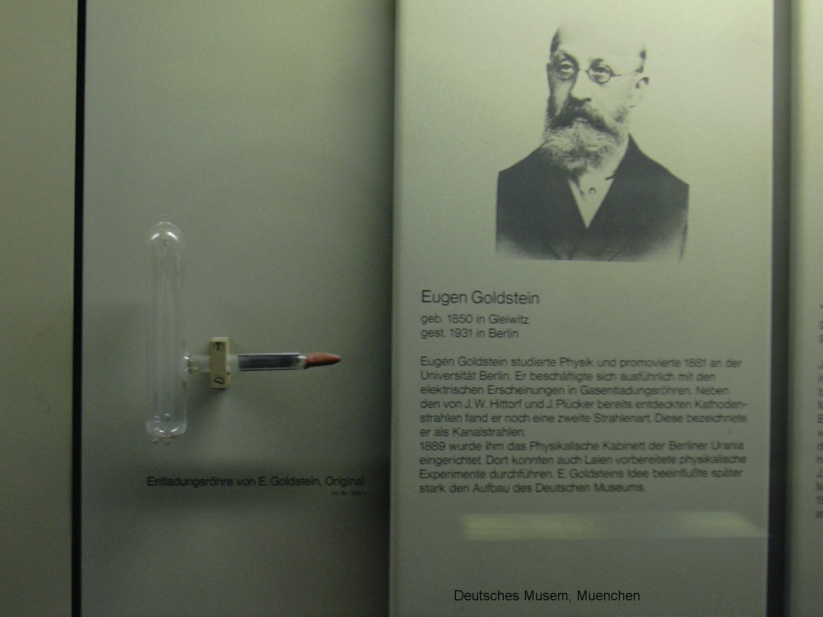 eugen goldstein German physicist eugen goldstein studied under hermann von helmholtz, and coined the term cathode rays, for the negatively-charged electrons discovered by johann hittorf, emitted when electric current is forced through a vacuum tube he discovered anode rays (also called canal rays), the positively-charged particles formed when electrons are.